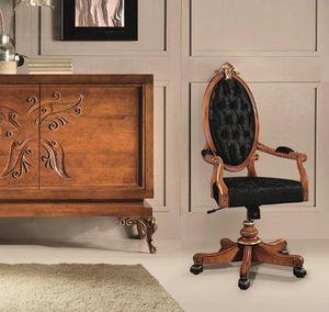 Art. 525g, Chaise de bureau classique avec roulettes et dossier capitonnè