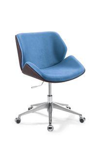 Codognè Office, Chaise de bureau à roulettes, rembourrée en faux cuir