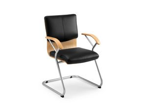 Ducale Lux guest 46340, Chaise de bureau avec coque en bois et rembourrage en cuir