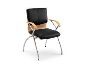 Ducale Lux guest 46360, Chaise de bureau en métal, bois et cuir