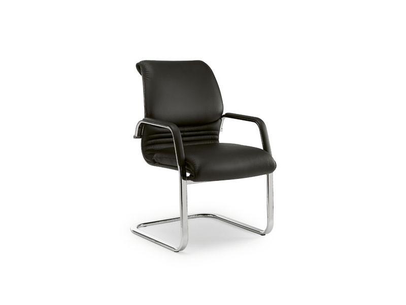 Elegance guest 2880, Chaise de bureau en métal chromé, sellerie cuir