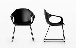 Elephant Slide Base leather, Chaise avec siège en cuir et traîneau, pour bar