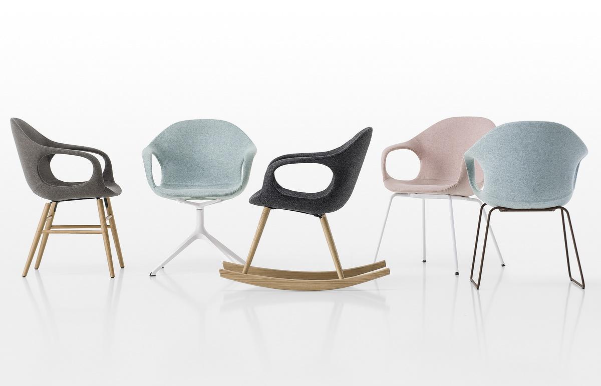 Elephant Trestle Base padded, Chaise rembourrée avec base pivotante à 4 rayons, pour bureau