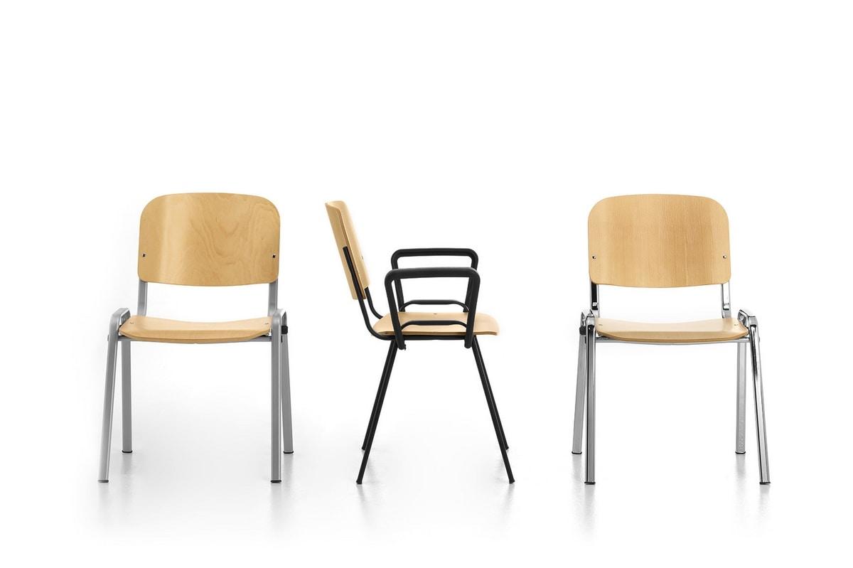 Leo Wood, Chaise empilable pour la communauté, en métal et contreplaqué