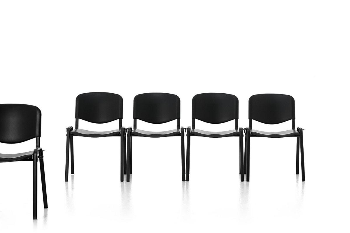 Leo Plastic, Chaise en métal, assise et dossier en polypropylène