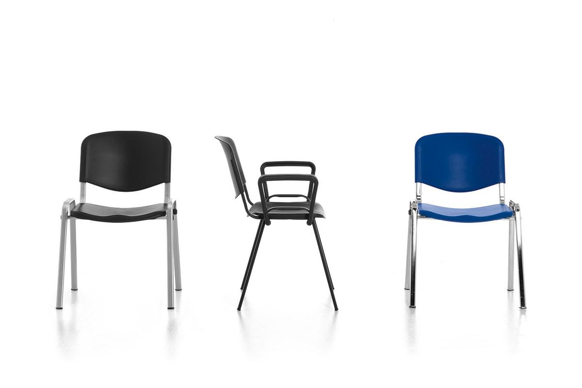 Leo 03, Chaise en métal, assise et dossier en polypropylène