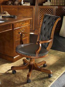 M 618, Chaise pivotante avec roulettes, en cerisier, avec accoudoirs