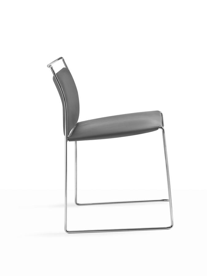 Mogliano, Chaise rembourrée coulissante pour bureaux et salles d'attente