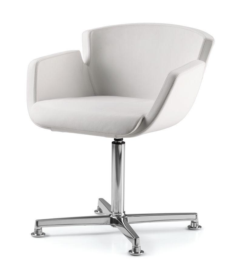 NUBIA 2904, Chaise rembourrée, base de chrome à 4 branches, pour le bureau