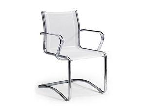 Origami RE guest 70250, Chaise de bureau en cuir avec accoudoirs chromés