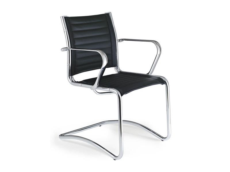 Origami TD guest 70050, Chaise en acier chromé avec sellerie cuir