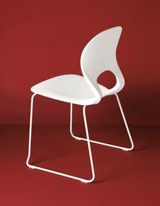 Pikaia Slide Base, Chaise ergonomique à base de tige et dossier perforé