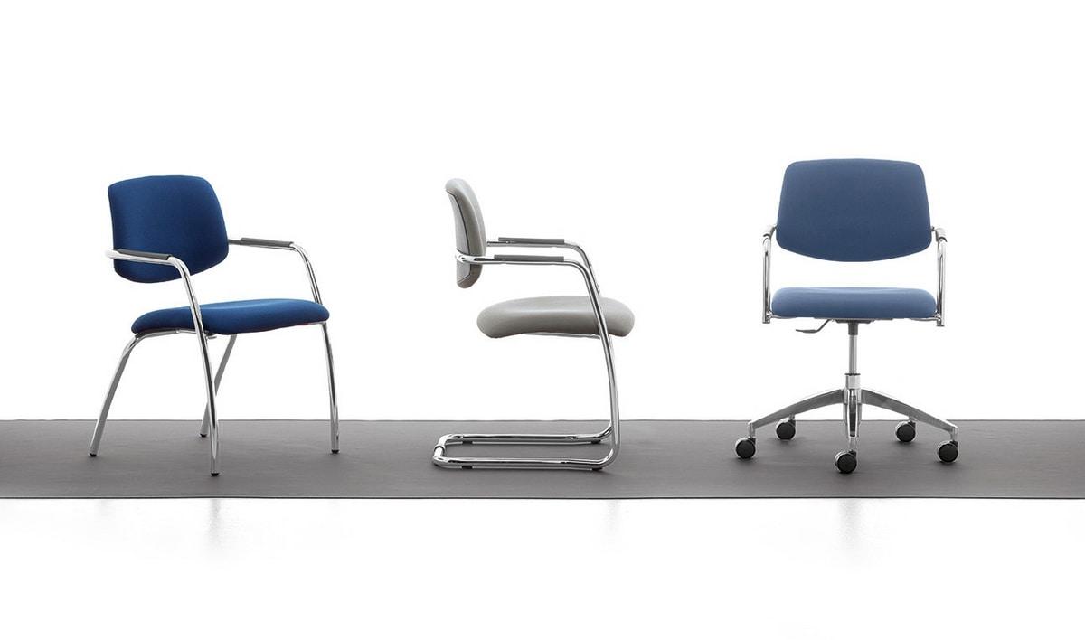 Samba 01, Chaise luge en métal chromé de bureaux et de salles d'attente