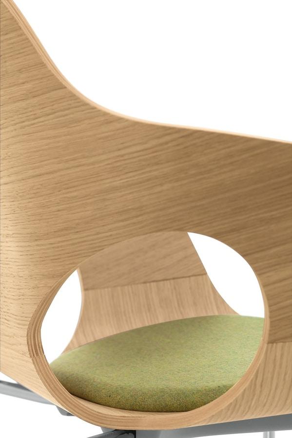 Spark Wood 02, Fauteuil pivotant avec ascenseur de gaz, coque en bois