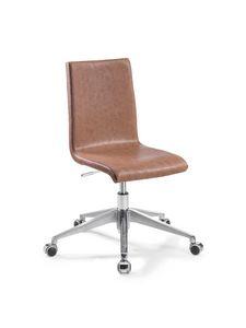 Vidor Office, Chaise de bureau réglable avec roulettes, avec siège éco-cuir