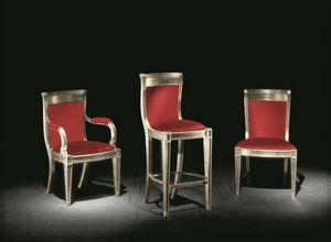 Eleganza Tissu, Chaise classique avec accoudoirs pour les hôtels et salles à manger