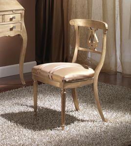 712 CHAISE, Chaise en bois avec siège rembourré, style Empire