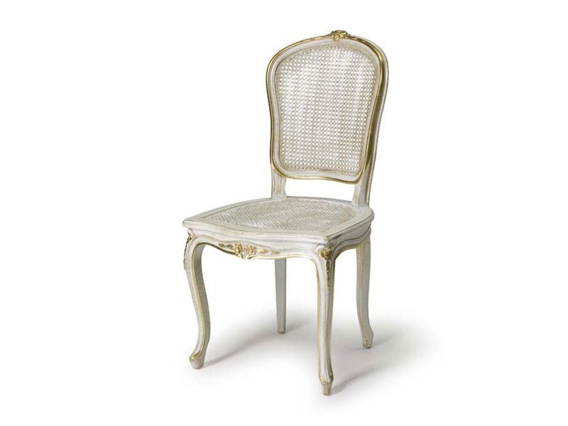 Art.108 chair, Chaise avec assise et dossier en paille, de style Louis XV