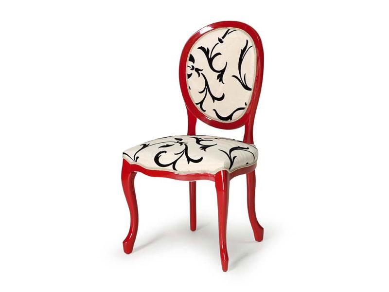 Art.417 chair, Chaise en bois poli, assise et dossier tapissés
