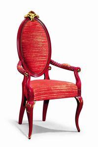 Art. 501p, Chaise avec accoudoirs, laqué, avec décorations en feuilles d'or