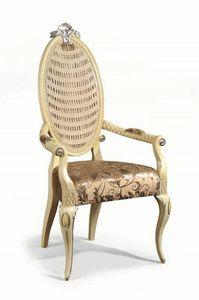 Art. 502p, Chaise avec accoudoirs rembourrés et dossier en canne