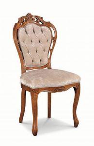 Art. 520s, Chaise avec sculptures en bois et structure perforée