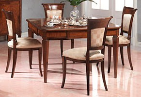 Art. 962 table Carlo X, Table à manger précieux, marqueterie, fini antique en noyer
