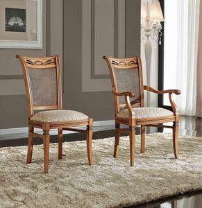 BS342S - Chaise, Chaise de style classique avec dossier en rotin