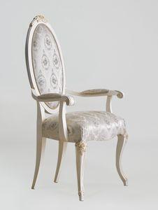 BS512A - Chaise, Chaise de style classique avec accoudoirs