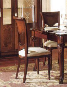 Canova chaise, Chaise classique en noyer, sculpté par des artisans