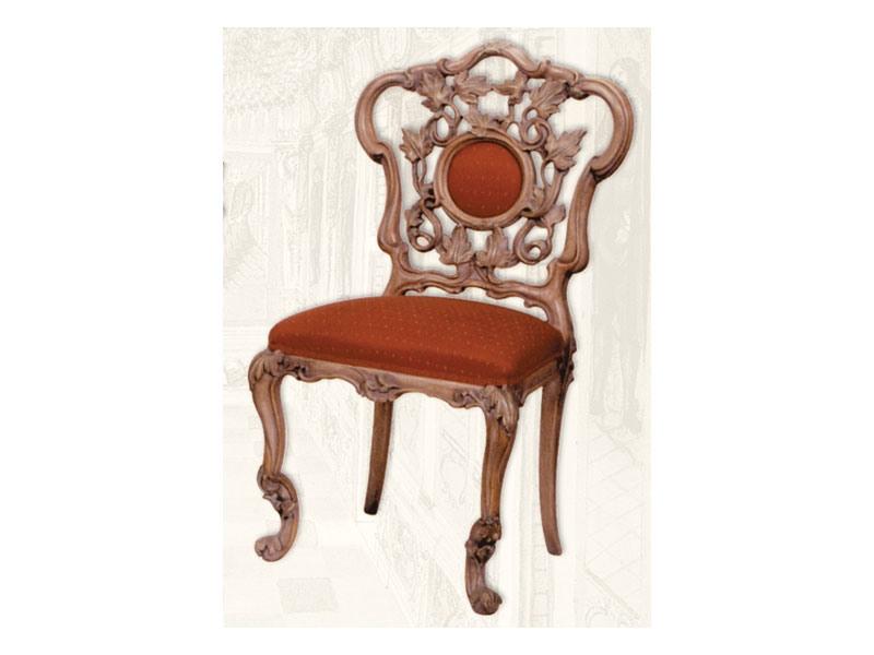 Chair art. Sari, Chaise en bois avec siège rembourré, style Art Déco