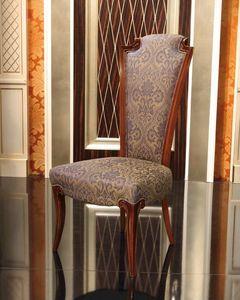 Chaise Impero, Chaise en bois rembourrée classique avec dossier haut