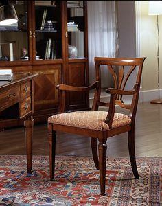 D 602, Chaise en cerisier, avec accoudoirs et assise rembourrée