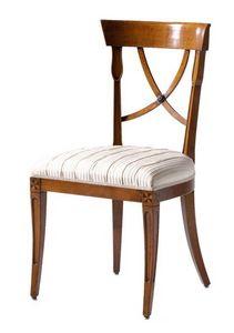 Fontainebleau VS.1237, Président en merisier avec siège rembourré, idéal pour les salles de séjour dans le style de luxe classique