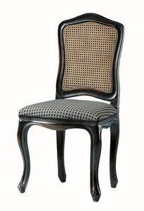 Kandisky RA.0985, Chaire en laqué noir, assise, de la paille sur le dos