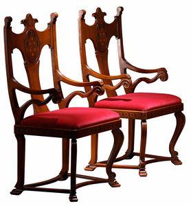 Lacona ME.0980, Chaise avec accoudoirs, avec dossier sculpté et incrusté