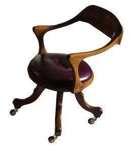 Le Havre VS.0226.PE, Chaise avec des roues en noyer, recouvert de cuir, pour le bureau
