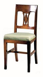 Manciano ME.0966.T, Chaise en noyer, avec siège rembourré, style classique
