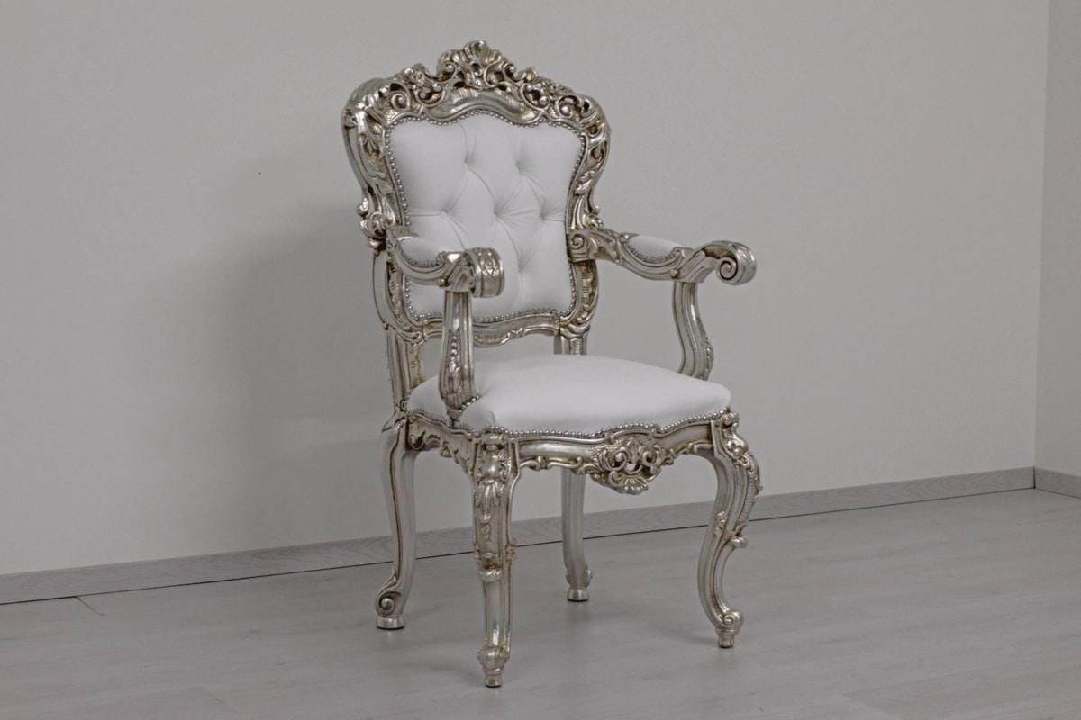Putto pelle, Chaise baroque avec sellerie en cuir