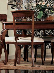 Settecento chaise, Chaise rembourrée, en noyer massif, brillant, classique