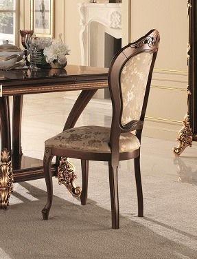Sinfonia chaise, Chaise classique rembourrée en hêtre, avec des sculptures dorées