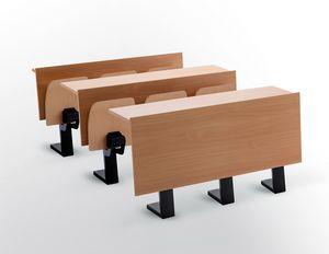 Ateneo desk central feet, Bureau avec sièges pour auditorium