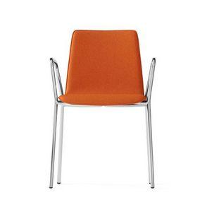 CARPET, Chaise rembourrée avec accoudoirs, piétement chromé 4 pieds