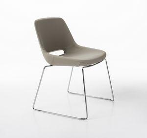 Clea base de traineau, Chaise avec base chromée