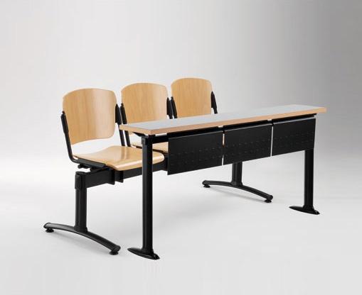 Cortina movable bench with school table, Banc avec sièges et dossiers en contreplaqué, pour l'université