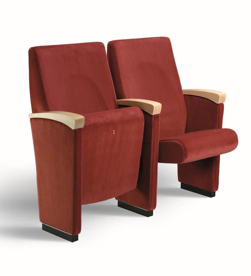Gonzaga T, Conférence chaise rembourrée avec les bras recouvert de bois