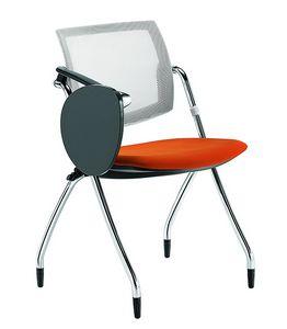 Q-Go RETE, Chaise de conf�rence avec tablette graphique, dossier en r�sille