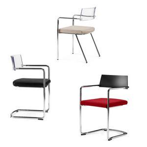 SLIM, Chaise empilable avec assise rembourrée, pour salles de conférence