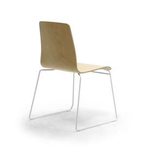 Zerosedici Wood sled, Chaise avec coque en bois, piètement luge