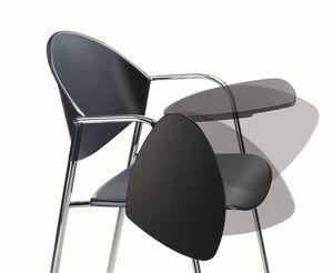 DELFI 085 TDX, Chaise cadre en métal, assise en polymère, avec bureau